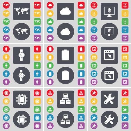 orologio da polso: Globe, Nube, Monitor, Orologio da polso, batteria, Finestra, processore, rete, icona della chiave simbolo. Un grande insieme di piatti, pulsanti colorati per il vostro disegno. Illustrazione vettoriale Vettoriali