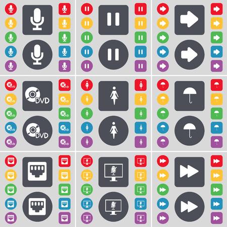 arrow right: Micr�fono, Pausa, Flecha derecha, DVD, Silueta, Paraguas, conexi�n LAN, monitor, Rebobinar icono de s�mbolo. Un gran conjunto de planos botones, colores para su dise�o. Ilustraci�n vectorial