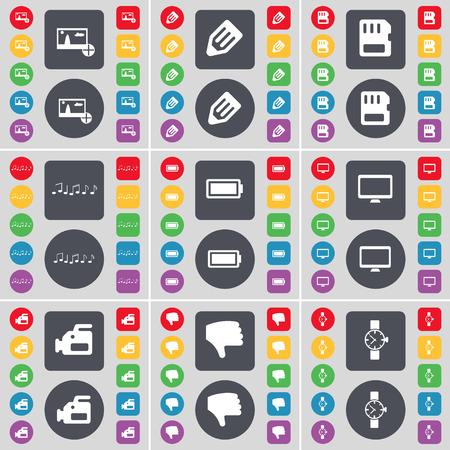 orologio da polso: Immagine, matita, carta SIM, nota, batteria, monitor, telecamera cinematografica, Dislike, icona Orologio da polso simbolo. Un grande insieme di piatti, pulsanti colorati per il vostro disegno. Illustrazione vettoriale