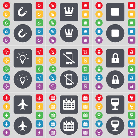 stop light: Magnet, Crown, Media stop, Light bulb, Smartphone, Lock, Airplane, Calendar, Wineglass icon symbol. A large set of flat, colored buttons for your design. Vector illustration