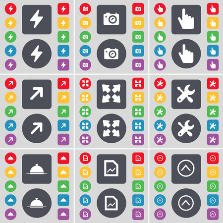 full screen: Flash, Camera, hand, Full screen, Wrench, Tray, Graph, Arrow up icon symbol. A large set of flat, colored buttons for your design. Vector illustration