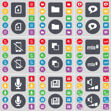 chat bubble: Download file, Folder, Chat bubble, Smartphone, Copy, Keyboard, Microphone, Newspaper, Volume icon symbol. A large set of flat, colored buttons for your design. Vector illustration