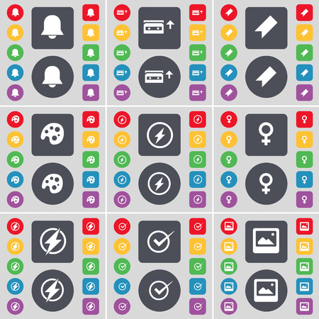 venus symbol: Notification, Cassette, Marker, Palette, Flash, Venus symbol, Tick, Window icon symbol. A large set of flat, colored buttons for your design. Vector illustration