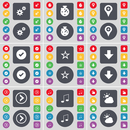 checkpoint: Gear, Stopwatch, Checkpoint, Tick, Star, Arrow down, Arrow right, Note, Cloud icon symbol. A large set of flat, colored buttons for your design. Vector illustration