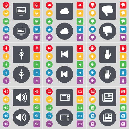 skip: Graph, Cloud, Dislike, Silhouette, Media skip, Hand, Sound, Microwave, Newspaper icon symbol. A large set of flat, colored buttons for your design. Vector illustration