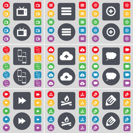 retro tv: Retro TV, Apps, Plus, Information exchange, Cloud, Chat cloud, Rewind, Campfire, Pencil icon symbol. A large set of flat, colored buttons for your design. Vector illustration