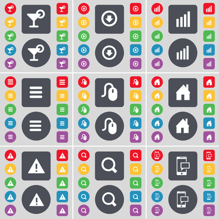 freccia giù: Cocktail, Arrow down, Diagram, Apps, Mouse, House, Warning, Magnifying glass, SMS icon symbol. A large set of flat, colored buttons for your design. Vector illustration