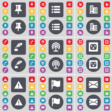 ink pot: Pin, List, Building, Ink pot, Wi-Fi, Socket, Warning, Flag, Message icon symbol. A large set of flat, colored buttons for your design. Vector illustration