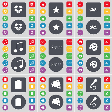 dropbox: Dropbox, Star, Swimmer, Note, Palette, Battery, CCTV, Microphone icon symbol. A large set of flat, colored buttons for your design. Vector illustration