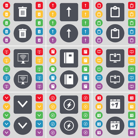 freccia giù: Trash can, Arrow up, Survey, Monitor, Notebook, Arrow down, Flash, Plus one icon symbol. A large set of flat, colored buttons for your design. Vector illustration
