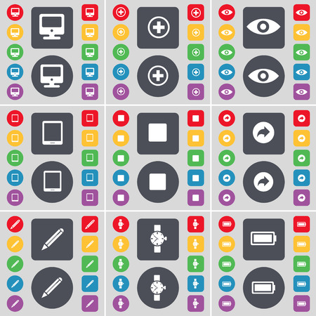 orologio da polso: Monitor, Plus, Vision, Tablet PC, Media stop, Back, Pencil, Wrist watch, Battery icon symbol. A large set of flat, colored buttons for your design. Vector illustration
