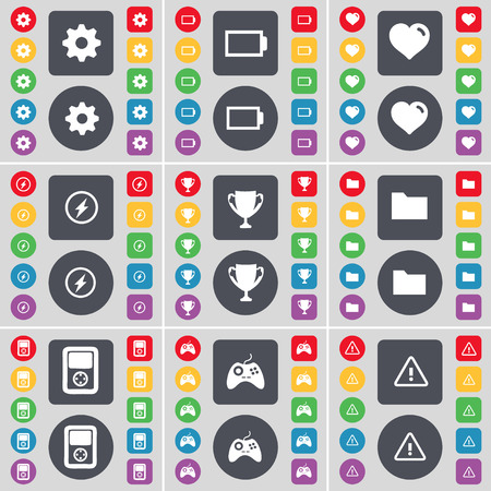 heart gear: Gear, Battery, Heart, Flash, Cup, Folder, Player, Gamepad, Warning icon symbol. A large set of flat, colored buttons for your design. Vector illustration