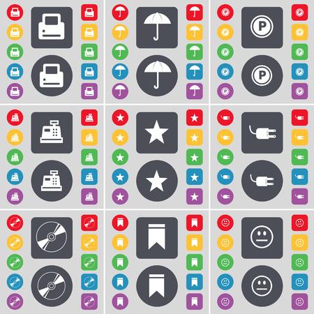 parking disk: Printer, Umbrella, Parking, Cash register, Star, Socket, Disk, Marker, Smile icon symbol. A large set of flat, colored buttons for your design. Vector illustration