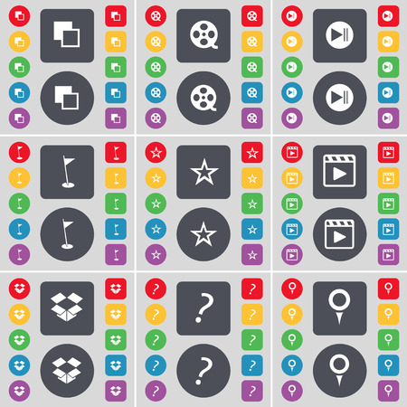media player: Copy, Videotape, Media skip, Golf hole, Star, Media player, Dropbox, Question mark, Checkpoint icon symbol. A large set of flat, colored buttons for your design. Vector illustration Illustration