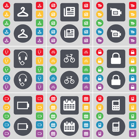 mobile phone icon: Hanger, Network, Film camera, Headphones, Bicycle, Lock, Battery, Calendar, Mobile phone icon symbol. A large set of flat, colored buttons for your design. Vector illustration