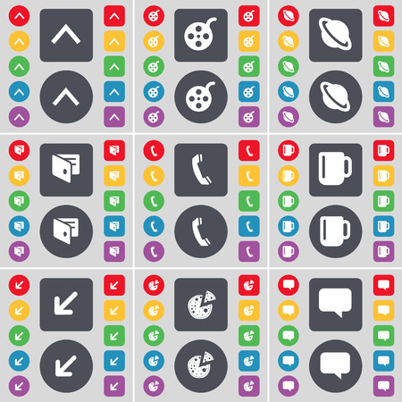 videotape: Arrow up, Videotape, Planet, Wallet, Receiver, Cup, Deploying screen, Pizza, Chat bubble icon symbol. A large set of flat, colored buttons for your design. Vector illustration
