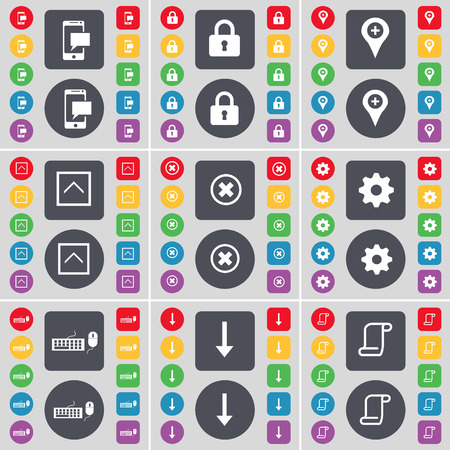 lock up: SMS, Lock, Checkpoint, Arrow up, Stop, Gear, Keyboard, Arrow down, Scroll icon symbol. A large set of flat, colored buttons for your design. Vector illustration