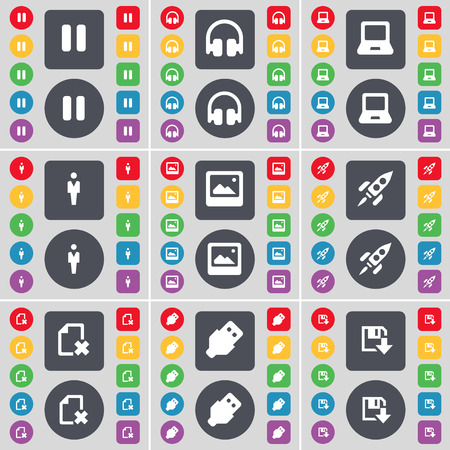 laptop silhouette: Pause, Headphones, Laptop, Silhouette, Window, Rocket, File, USB, Floppy icon symbol. A large set of flat, colored buttons for your design. Vector illustration Illustration