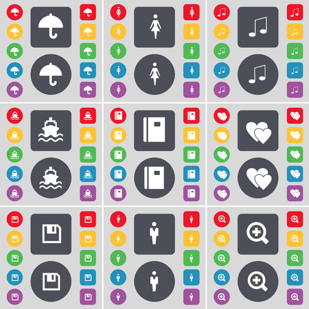 magnifying glass icon: Umbrella, Silhouette, Note, Ship, Note, Heart, Floppy, Silhouette, Magnifying glass icon symbol. A large set of flat, colored buttons for your design. Vector illustration Illustration