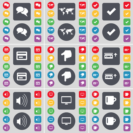 sound card: Chat bubble, Globe, Tick, Credit card, Hand, Cassette, Sound, Monitor, Cup icon symbol. A large set of flat, colored buttons for your design. Vector illustration
