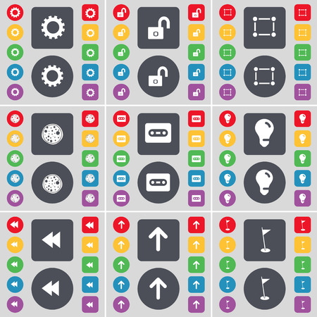 lock up: Gear, Lock, Frame, Pizza, Cassette, Light bulb, Rewind, Arrow up, Golf hole icon symbol. A large set of flat, colored buttons for your design. Vector illustration