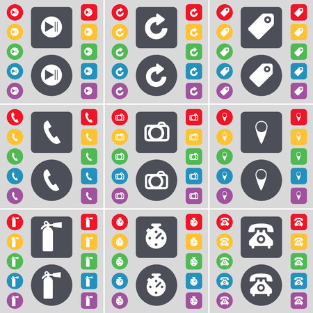 skip: Media skip, Reload, Tag, Receiver, Camera, Checkpoint, Fire extinguisher, Stopwatch, Retro phone icon symbol. A large set of flat, colored buttons for your design. Vector illustration Illustration