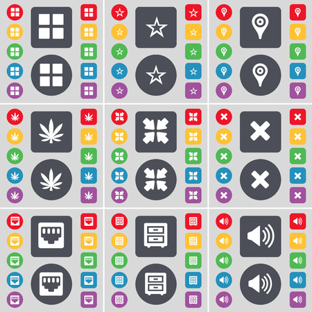 lan: Apps, Star, Checkpoint, Marijuana, Deploying screen, Stop, LAN socket, Bed-table, Sound icon symbol. A large set of flat, colored buttons for your design. Vector illustration