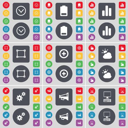 freccia giù: Freccia gi�, Batteria, Diagramma, Cornice, Pi�, Nube, Gear, Megafono, icona simbolo del PC. Un grande insieme di piatti, pulsanti colorati per il vostro disegno. Illustrazione vettoriale Vettoriali