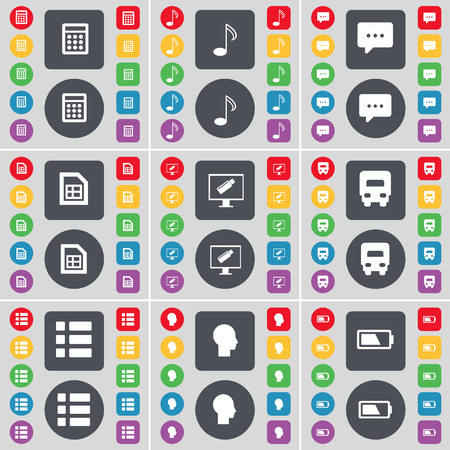 chat bubble vector: Calculator, Note, Chat bubble, File, Monitor, Truck, List, Silhouette, Battery icon symbol. A large set of flat, colored buttons for your design. Vector illustration