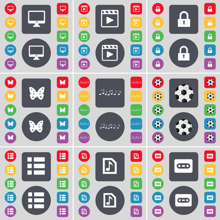 buttery: Monitor, Media player, Lock, Buttery, Note, Ball, List, Music file, Cassette icon symbol. A large set of flat, colored buttons for your design. Vector illustration