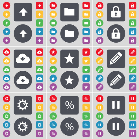 folder lock: Arrow up, Folder, Lock, Cloud, Star, Pencil, Gear, Pencil, Pause icon symbol. A large set of flat, colored buttons for your design. Vector illustration Illustration