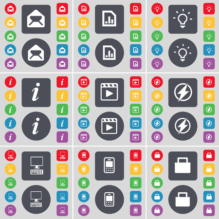 media player: Message, Diagram file, Light bulb, Information, Media player, Flash, PC, Mobile phone, Lock icon symbol. A large set of flat, colored buttons for your design. Vector illustration