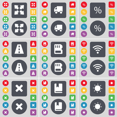 card stop: Full screen, Truck, Percent, Road, SIM card, Wi-Fi, Stop, Dictionary, Light icon symbol. A large set of flat, colored buttons for your design. Vector illustration