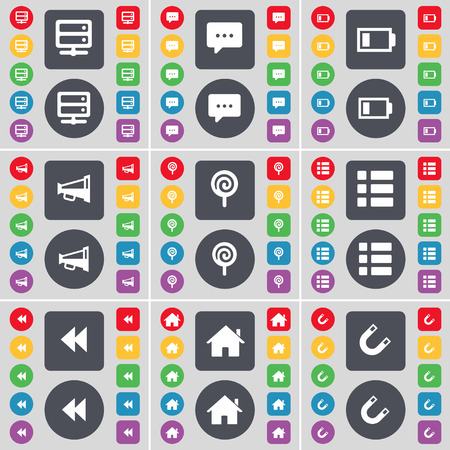 bedtable: Bed-table, Chat bubble, Battery, Megaphone, Lollipop, List, Rewind, House, Magnet icon symbol. A large set of flat, colored buttons for your design. Vector illustration Illustration