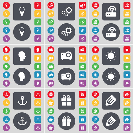 checkpoint: Checkpoint, Gear, Router, Silhouette, Projector, Light, Anchor, Gift, Anchor icon symbol. A large set of flat, colored buttons for your design. Vector illustration
