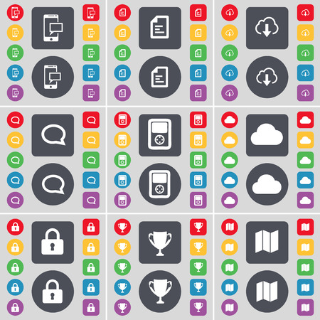 sms text: SMS, Text file, Cloud, Chat bubble, Player, Cloud, Lock, Cup, Map icon symbol. A large set of flat, colored buttons for your design. Vector illustration
