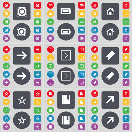full screen: Speaker, Battery, House, Arrow right, Marker, Star, Dictionary, Full screen icon symbol. A large set of flat, colored buttons for your design. Vector illustration