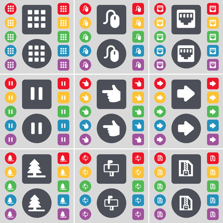 lan: Apps, Mouse, LAN socket, Pause, Hand, Arrow right, Firtree, Mailbox, ZIP file icon symbol. A large set of flat, colored buttons for your design. Vector illustration