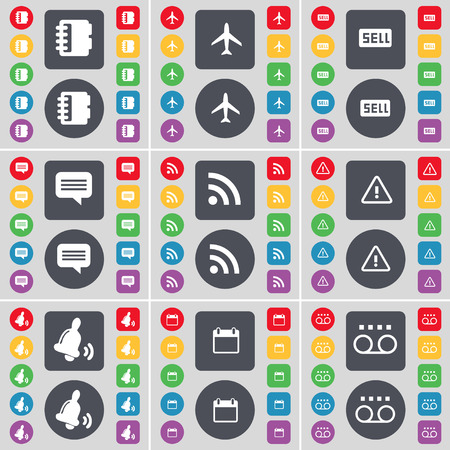 chat bubble vector: Notebook, Airplane, Sell, Chat bubble, RSS, Warning, Bell, Calendar, Cassette icon symbol. A large set of flat, colored buttons for your design. Vector illustration