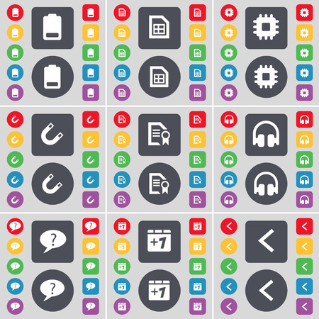 arrow left icon: Battery, File, Processor, Magnet, Text file, Headphones, Chat bubble, Plus one, Arrow left icon symbol. A large set of flat, colored buttons for your design. Vector illustration Illustration