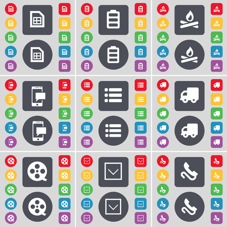 videotape: File, Battery, Campfire, SMS, List, Truck, Videotape, Arrow down, Receiver icon symbol. A large set of flat, colored buttons for your design. Vector illustration