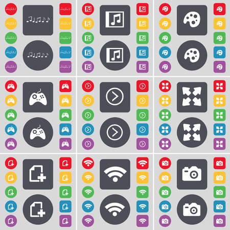 arrow right: Notes, Music window, Palette, Gamepad, Arrow right, Full screen, File, Wi-Fi, Camera icon symbol. A large set of flat, colored buttons for your design. Vector illustration