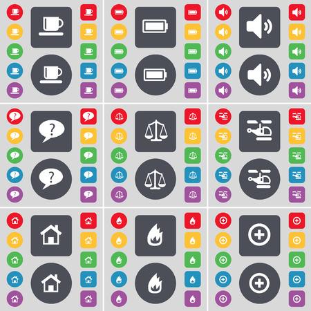 incendio casa: Copa, bater�a, sonido, burbuja de Chat, Escalas, Helic�ptero, Casa, Fuego, Plus icono de s�mbolo. Un gran conjunto de planos botones, colores para su dise�o. Ilustraci�n vectorial
