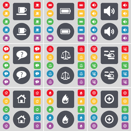 house fire: Cup, Battery, Sound, Chat bubble, Scales, Helicopter, House, Fire, Plus icon symbol. A large set of flat, colored buttons for your design. Vector illustration