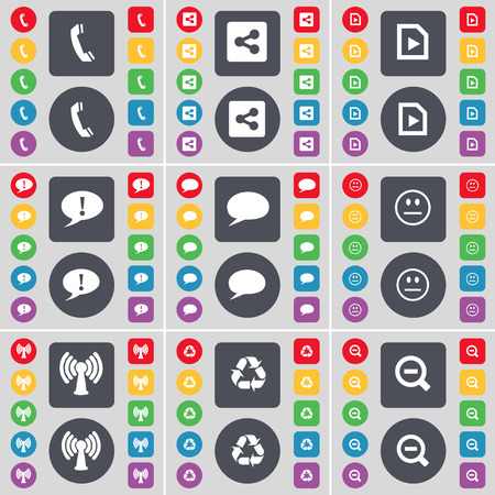 chat bubble vector: Receiver, Share, Media file, Chat bubble, Smile, Wi-Fi, Recycling, Minus icon symbol. A large set of flat, colored buttons for your design. Vector illustration