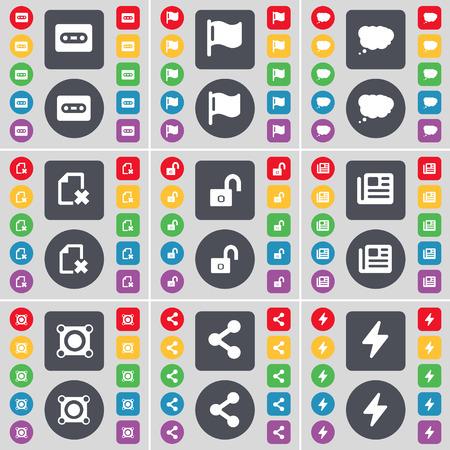file share: Cassette, Flag, Chat cloud, File, Lock, Newspaper, Speaker, Share, Flash icon symbol. A large set of flat, colored buttons for your design. Vector illustration Illustration