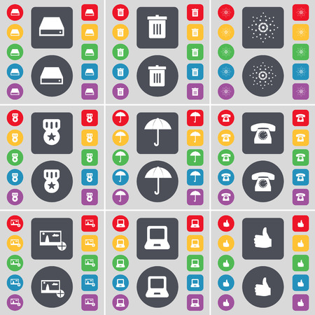 medal like: Hard drive, Trash can, Star, Medal, Umbrella, Retro phone, Picture, Laptop, Like icon symbol. A large set of flat, colored buttons for your design. Vector illustration