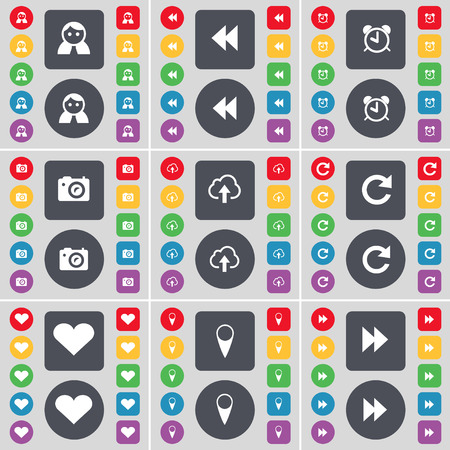 rewind: Avatar, Rewind, Alarm clock, Camera, Cloud, Reload, Heart, Checkpoint, Rewind icon symbol. A large set of flat, colored buttons for your design. Vector illustration