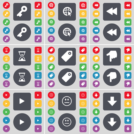 arrow down icon: Key, Web with cursor, Rewind, Hourglass, Tag, Hand, Media play, Smile, Arrow down icon symbol. A large set of flat, colored buttons for your design. Vector illustration