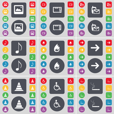 disabled person: Window, Microwave, SMS, Note, Fire, Arrow right, Cone, Disabled person, Cigarette icon symbol. A large set of flat, colored buttons for your design. Vector illustration Illustration